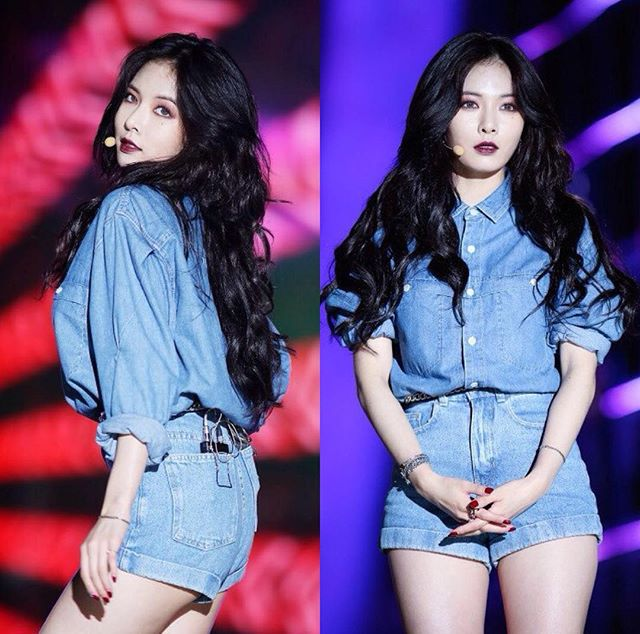 Denim Polo with Black Hair Curly Black Lipstick and Maong Shorts Fashion of Kim Hyuna