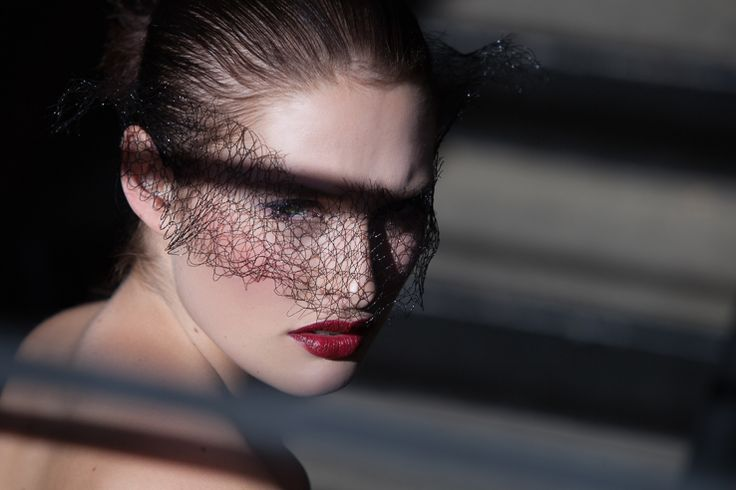Black mesh veil carved out of the moment. Abstract using steps, bars and harsh reaction. Fashion photography by Rebekah West. Contact Rebekah at http://www.rebekahwest.com/#!/contact Veil by Stoten Millinery. Makeup by Alchemy. Model Jessica Dunphy. #veil #feminine #couture #photography