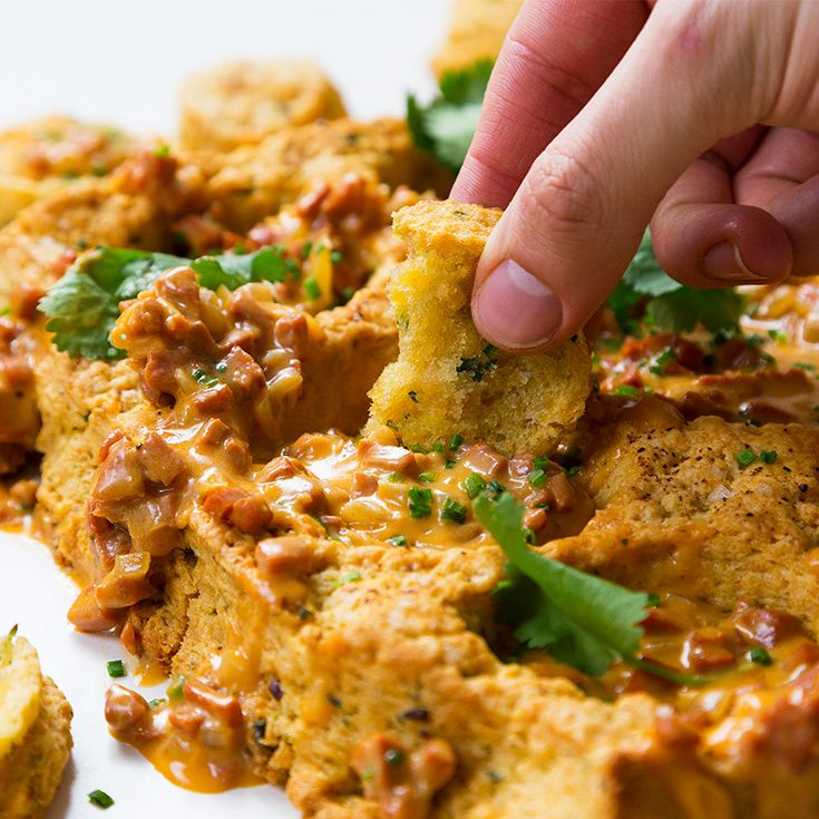 Bake jalapeño biscuit scraps to make an edible tray for creamy and spicy gravy. It's the perfect snack to feed a crowd.