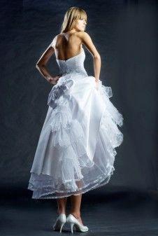 Unikatowe suknie ślubne, wedding dresses - Krótka suknia ślubna z satyny, koronki i z dodatkiem tiulu w kropki-Short wedding dress-wedding dress 50s-casual wedding dress-1950s Bridal