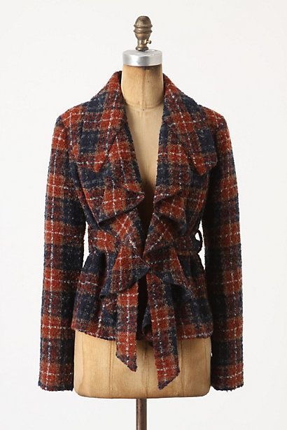 just scored this at Anthro for $35! help me style it...: Jacket, Fashion, Anthropology, Tartan Boucle, Style, Blazers, Earring, Coats
