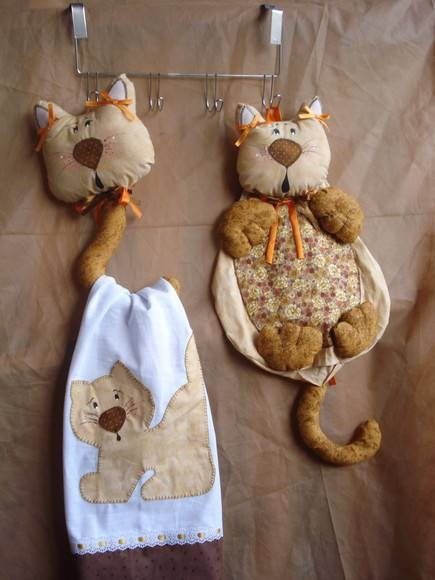 gato porta pano e puxa saco