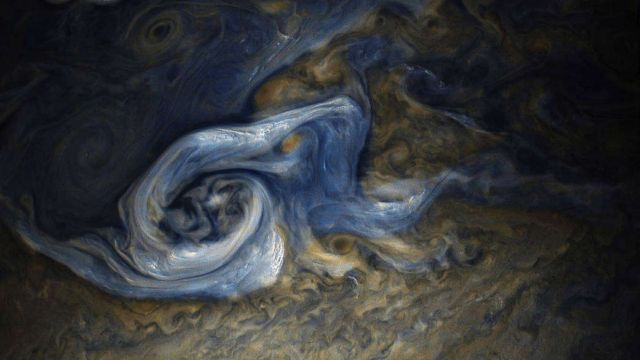 Enormous Jovian Tempest.  Color-enhanced image of a massive, raging storm in Jupiter's northern hemisphere,  by NASA's Juno spacecraft.  The image was taken on Oct. 24, 2017 at 10:32 a.m. PDT (1:32 p.m. EDT), captured by the spacecraft during its ninth close flyby of the gas giant planet.