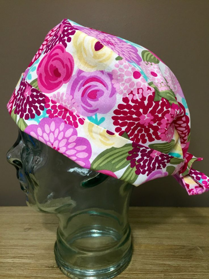 Bright Pink & Yellow Flower Surgical Scrub Cap, Beautiful Women's Pixie Scrub Hat, Custom Caps Company by CustomCapsCompany on Etsy