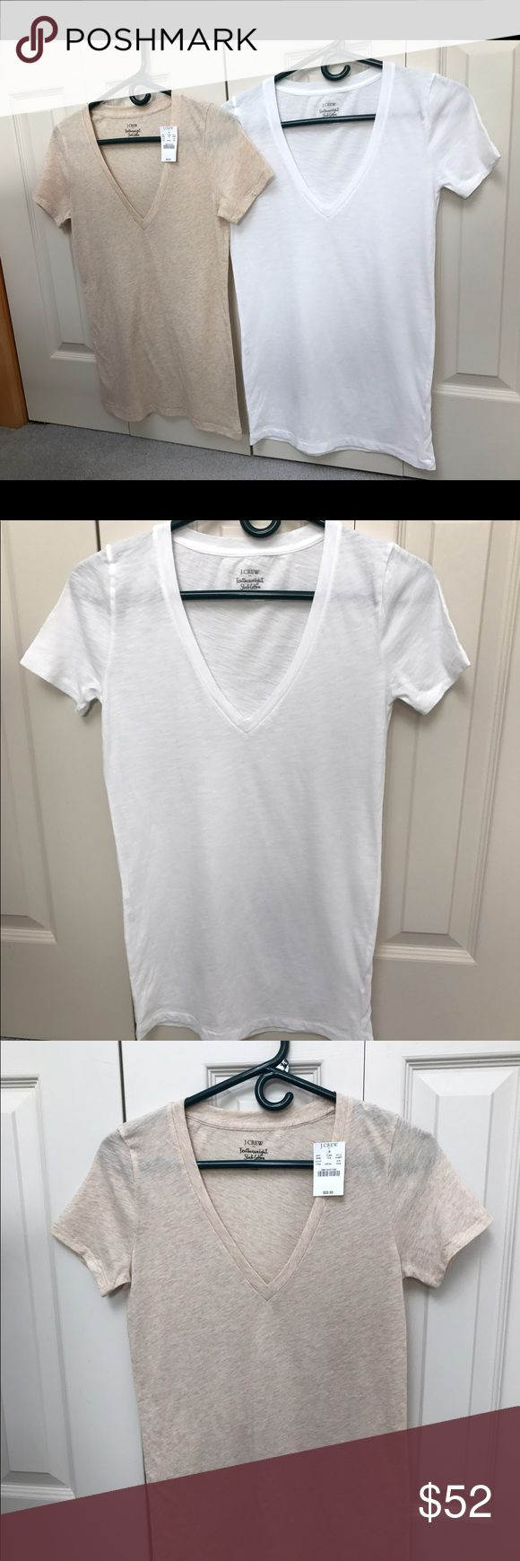 Bundle of TWO J Crew T-Shirts, XXS. Bundle of TWO J Crew T-Shirts, XXS. One tan, XXS, featherweight slub cotton, NWT and one white, XXS, featherweight slub cotton, worn one time. Both for $25. NO TRADES. J. Crew Tops Tees - Short Sleeve