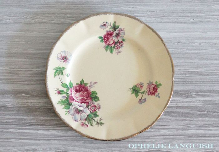 Rare Shabby Chic Vintage Pale Yellow Wm Hulme Royal Braemar Fine China Side Bread Plates with Rose Floral Motif - Made in England available at Ophélie Languish.   home, living, kitchen, dining, dinnerware, shabby chic, cottage chic, cream, pale yellow, floral, pink rose, blue flowers, royal braemar, set, wm hulme, hulme, william hulme, england, fine china, replacement china, rare, side plates, bread plates