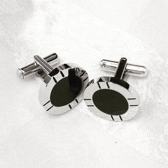 Unisex Vintage Onyx Cufflinks in Stainless Steel MidCentury