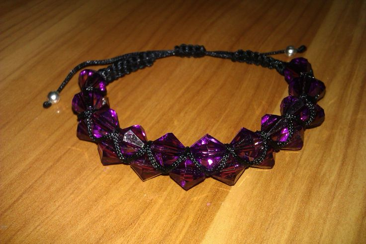 Black and purple macrame bracelet by CC Bracelets