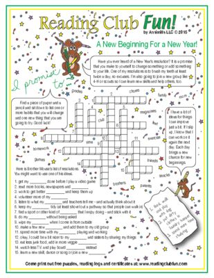 happy new year resolutions crossword puzzle from reading club fun on teachersnotebookcom 2 pages learn about new years