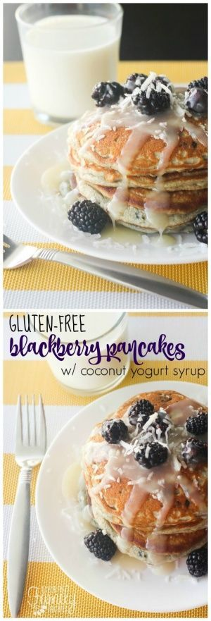 These Gluten Free Blackberry Pancakes are the best I've had. They are fluffy and so yummy. And the Coconut Yogurt Syrup tastes just like the syrup they serve at my favorite breakfast spot in Hawaii. via @favfamilyrecipz