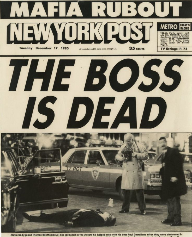 December 16, 1985 - Paul Castellano and Tommy Bilotti murdered by orders of John Gotti.