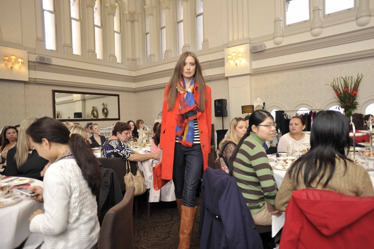 Trend: Bright and bold  Model wears #Sportscraft look, #Longchamp silk scarf & clutch and Nine West Australia boots.   #qvb #ninewest #boots #fashion #coat