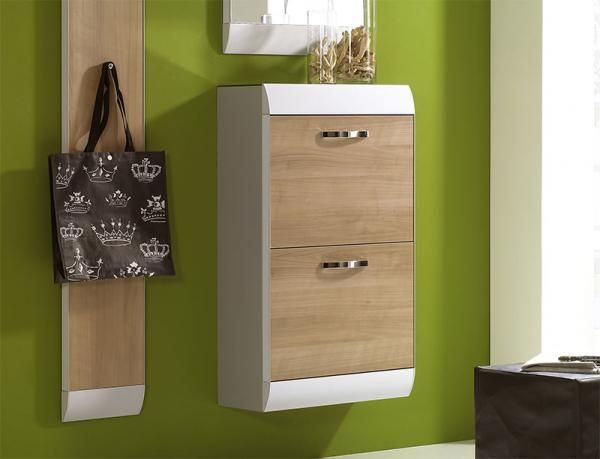Orbit wall mounted shoe cabinet in white high gloss frame with white wood doors