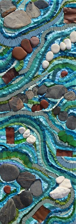 FLOWING MOSAIC £650 incl. p&p Smalti, pebbles, vitreous glass, porcelain, sicis glass, seashore glass, copper 21cm x 61cm