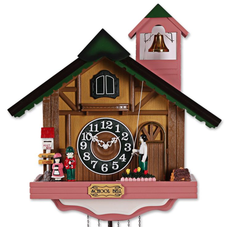 Fashion House Shape  wall clock, rustic cuckoo clock,photoswitchable music bell time clock and watch-free shipping by EMS