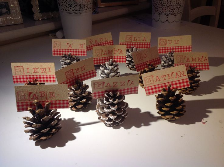 Pine cone Christmas place settings. Simple and cheap!