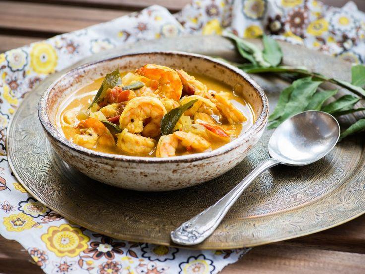 crevette, oignon jaune, ail, oignon, brocoli, tomate, maïs, pois, curcuma, curry, lime, coriandre, citronnelle, Poissons, petit piment...