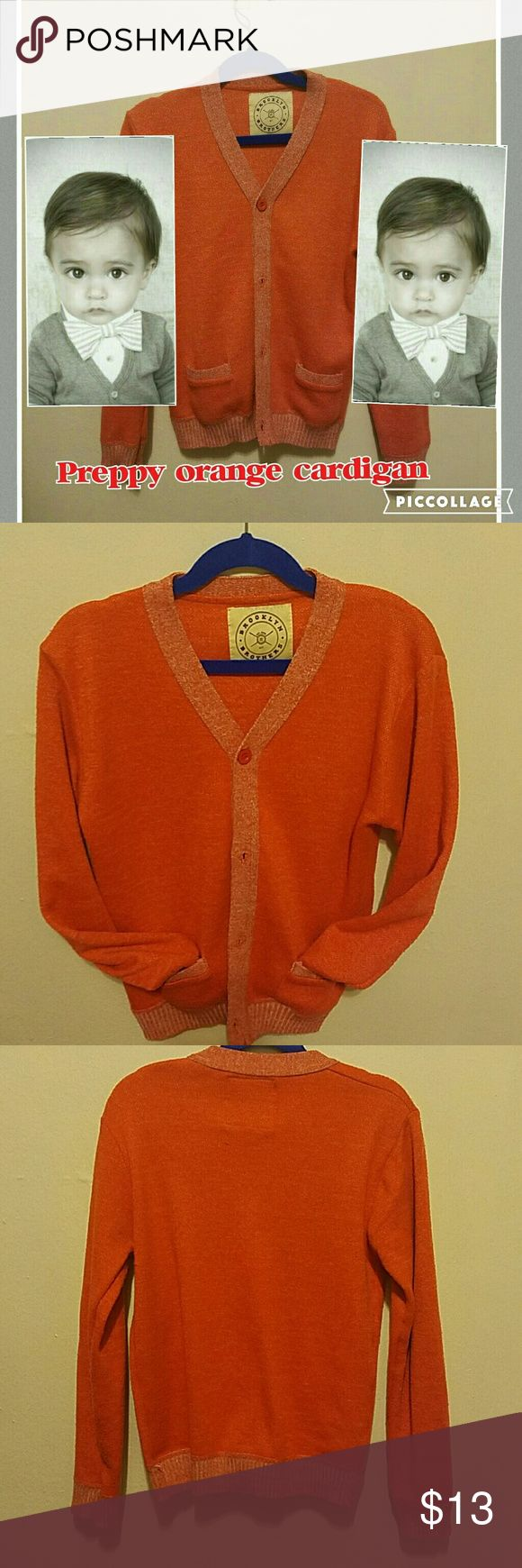 Orange cardigan for boys Very stylish and cute a preppy look to make any boy adorable with 2 functional pockets in front long sleeves v neck and  very soft material.preloved in good condition. Jackets & Coats