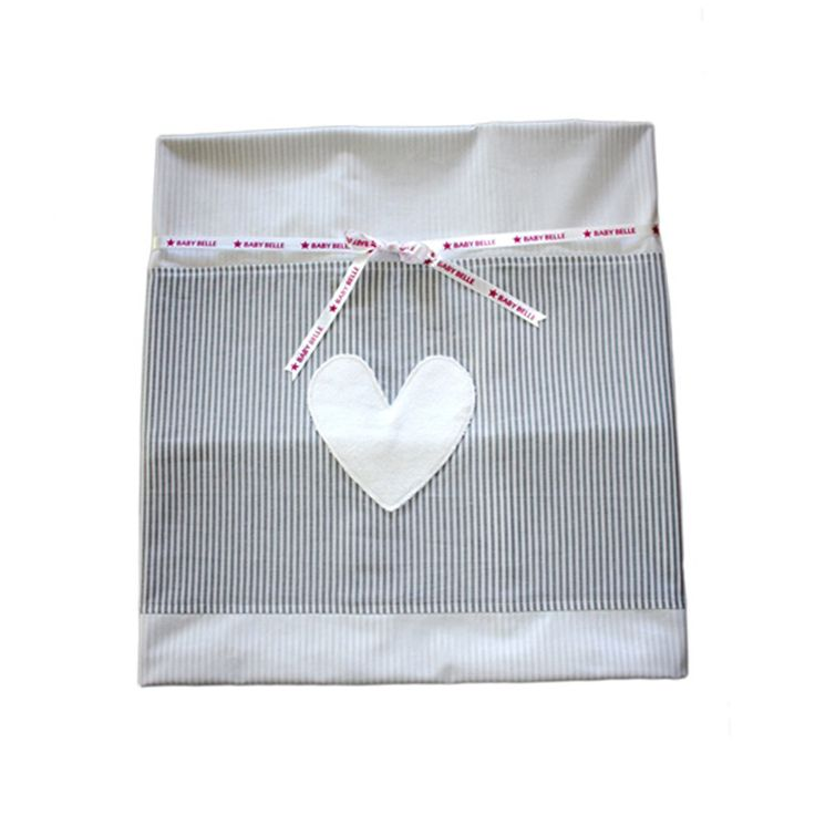 Cot Duvet Cover - Grey/White pinstripe Hearts