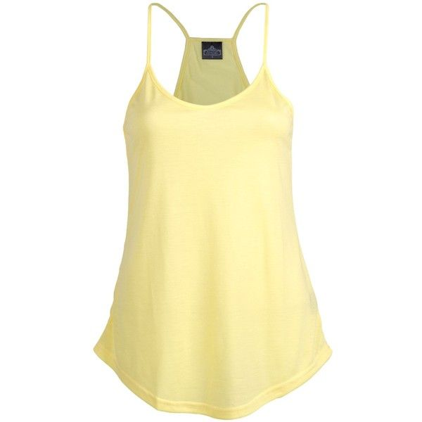 Angie T-Back Cami Top (58 ILS) ❤ liked on Polyvore featuring tops, shirts, cami shirt, yellow cami, yellow tank, spaghetti strap top and yellow camisole
