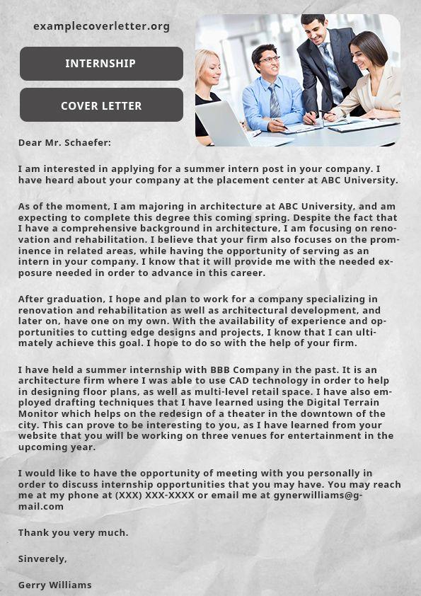 Example cover letter (armandostark965) on Pinterest - intern job description
