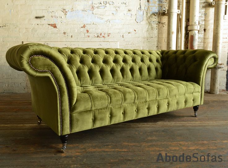 Modern British Handmade Geneva deep buttoned Chesterfield #Sofa, shown in a Plush Spring Green Smooth Velvet. 3 seater | Abode Sofas