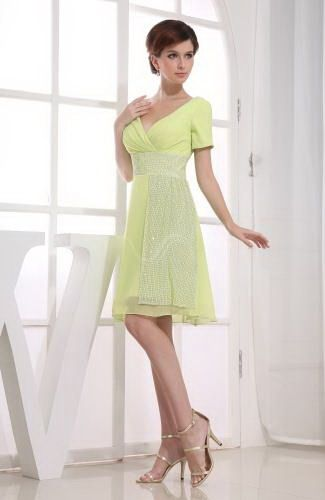 A-Line V-Neck Chiffon Party Gown - Order Link: http://www.thebridalgowns.com/a-line-v-neck-chiffon-party-gown-tbg6350 - SILHOUETTE: A-Line; SLEEVE: Short Sleeves; LENGTH: Knee Length; FABRIC: Chiffon; EMBELLISHMENTS: Paillette , Ruching , Sequin - Price: 100.99USD