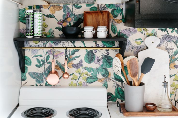 Featuring Peacoquette wallpaper! Tara's Budget Rental Remodel: $300 Later, This Rental Kitchen Is No Longer Recognizable