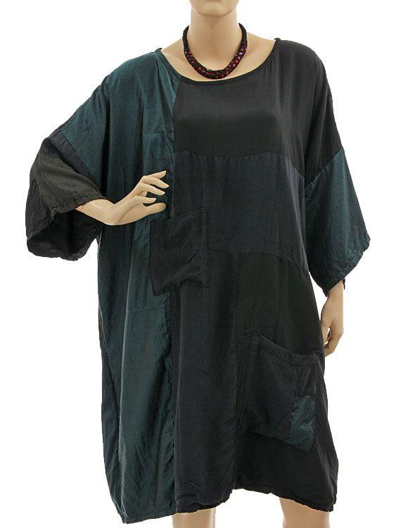 Oversized boho artsy dress tunic, silk patchwork in black teal L-XXXL - Artikeldetailansicht - CLASSYDRESS Lagenlook Art to Wear Women's Clothing