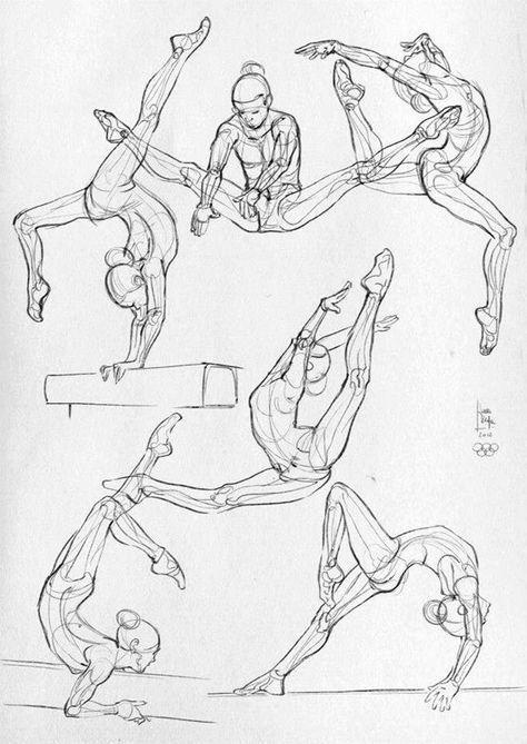 Drawing ballett sports pose gesture acrobarics dance