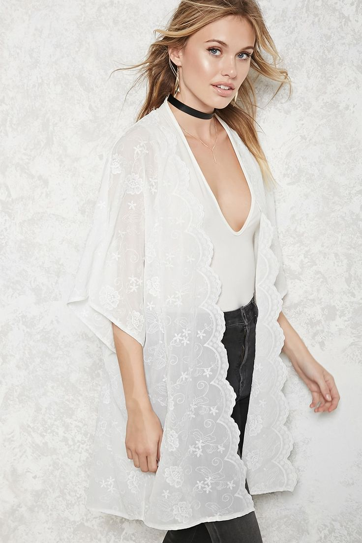 Forever 21 Contemporary - A woven kimono featuring an allover floral embroidery, scalloped trim, an open front, short sleeves, and a longline silhouette.