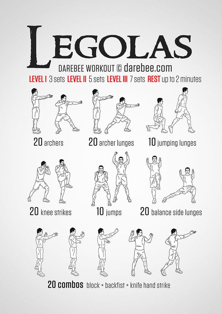 Legolas  Workout - Elves move fast, their movements are fluid, their muscles function like whipcords. They use their entire body like a precision instrument and it is this that makes them such formidable fighters. The Legolas workout is designed to activate your muscles to function in a powerful ensemble, just in case a massive Orc comes along.