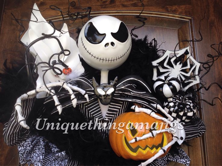 Halloween Wreath, Nightmare Before Christmas Inspired Jack Skellington , Pre Order 2016 Delivery! Please See Production Time by UniqueThingamajigs on Etsy https://www.etsy.com/listing/230509683/halloween-wreath-nightmare-before