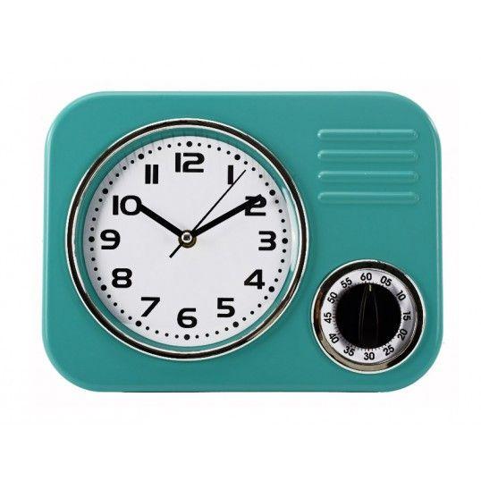 Väggklocka retro - Turkos köksklocka med timer