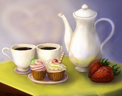 """Check out new work on my @Behance portfolio: """"2 cups of coffee and dessert"""" http://be.net/gallery/35751139/2-cups-of-coffee-and-dessert"""
