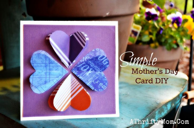 Heart  Blom card, SImple  Mothers day gift ideas