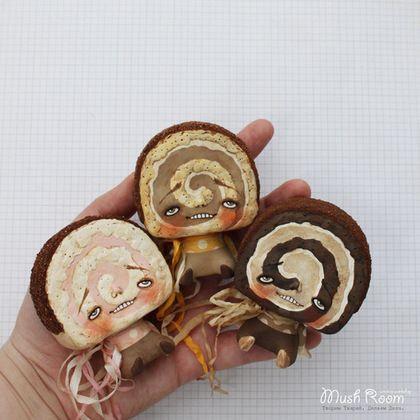 Купить Трио Рулетино - коричневый, рулет, дессерт, вкусный, шоколадный, шоколад, сладости, розовый, горошек