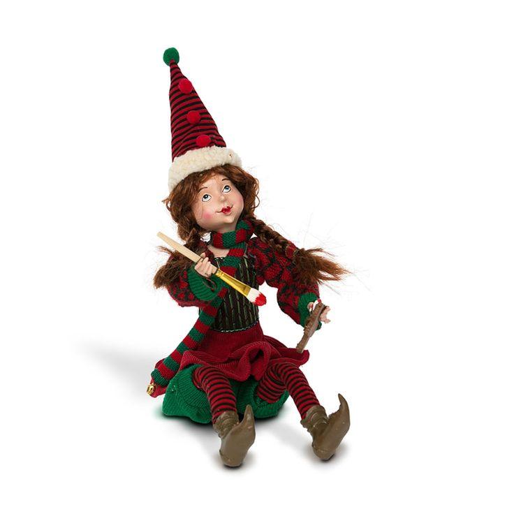 Enfeite elfa ajudante de papai noel sentada em poliéster 45 cm