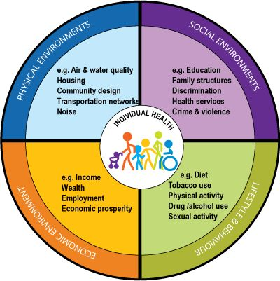 "An individual's health does not occur in isolation. Rather, many factors combine together to influence the health of individuals and communities. These factors include social, cultural, economic and physical environments, individual behavior, and biology. Together, these factors are known as the ""determinants of health"" and they describe where we live, how we live, and who we live among."