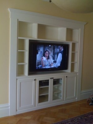Entertainment Center Recessed In The Wall Clients Replaced An Old Cabinet That Did Not Match House Or Their Personal Preference