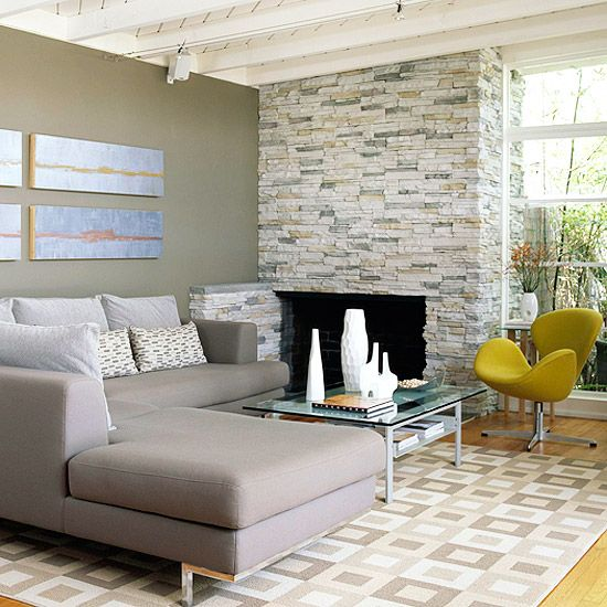 covered dated brick fireplace w/ faux stacked limestone. I need to do this with my brick fireplace wall