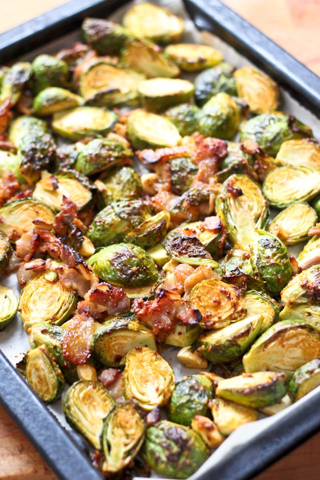 Oven Roasted Brussel Sprouts with Smokey Bacon | by Sonia! The Healthy Foodie It would be so yummy to add dried cranberries to this recipe!