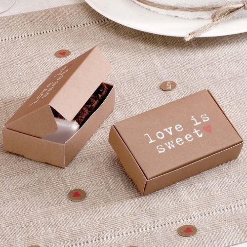 10 CAKE SLICE BOXES Wedding Party Favours Brown JUST MY TYPE Vintage