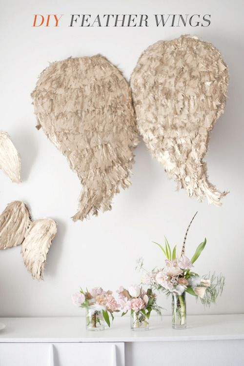 scissorsandthread:  Cupid Feather Wings | Ruffled We're only in the first week of January and I'm already thinking about Valentine's Day! It's hard when the Valentine's crafts are so pretty and fun. Though these wings might not be for everyone, I still think they're a fun decoration for the official day of love. You might want to add some glitter dipped feathers to the wings for extra sparkle!