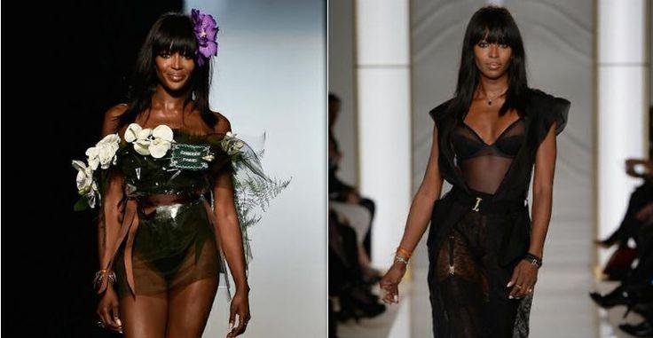 Aos 44 anos, Naomi Campbell exibe corpão durante Semana de Moda em Paris
