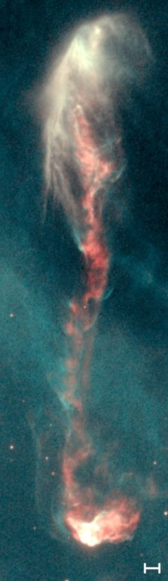This is one tall drink of cosmic dust. Herbig–Haro Object (HH47) - The Scale Bar Represents 1000 AU Which Is About 20 Times The Size Of Our Solar System (Astronomical Units: 1 AU = The Distance From The Earth To The Sun).