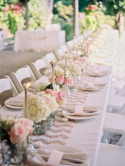 Sequin chevrons, candles and pretty florals: http://www.stylemepretty.com/2015/01/30/romantic-diy-winery-wedding/ | Photography: Alexandra Knight - http://alexandraknightphotography.com/