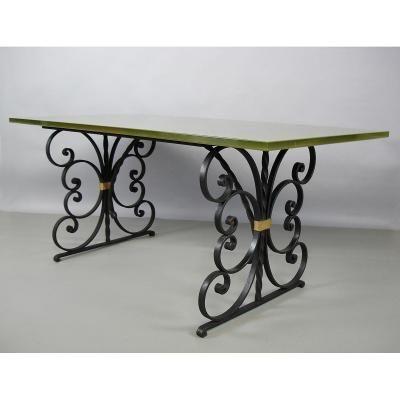 """Table """"art Deco """"en Fer Forgé"""