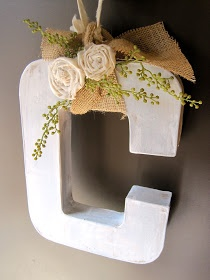 Combo of everything I like, letters, DIY flowers and burlap..must do!