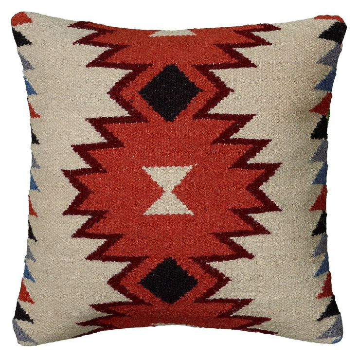 This fun toss pillow will add a touch of pizazz to any plush furnishing you choose to adorn. The Rizzy Home Textured Southwestern Stripe Pillow in Orange and Ivory is sure to become a favorite. Made with a cotton and wool blended fabric, this square pillow features southwestern flair and great style.